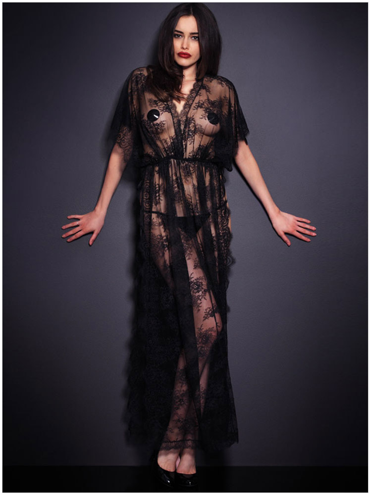 ff54adf474a Hot Sexy Sheer Lace Long Robes Erotic Lingerie Babydoll Chemise Women  Nightgown Pajamas Sleepwear Nightdress+Panties