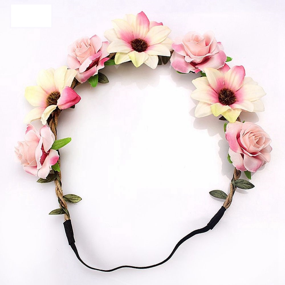 New Fashion Woman Faux Flowers Elactic Hair Bands for Wedding Headband Knitted Girls Beauty Leaves Accessories Headdress