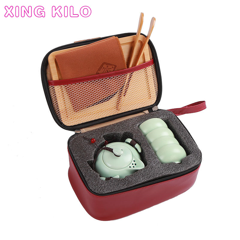 XING KILO Travel tea set portable bag home kung fu ceramic teapot fast customer a pot two or two cups gift custom logo