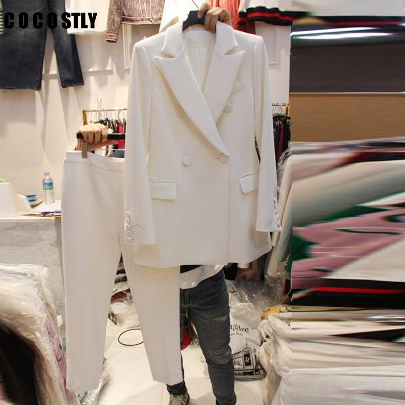 Autumn Korean Professional Slim Small Suit Women Pants Suit Temperament Suit Jacket 2 Pieces Set Female Wear To Business Suits