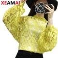 XEAMAI Blanco Floral Blusa de Encaje de La Vendimia Ahueca Hacia Fuera Crochet Top 2017 Sexy Mujeres Camiseta de Manga Larga Elegante Blusas Loose Femme
