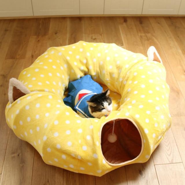חתול Play צעצוע מנהרת מצחיק חיות מחמד מנהרת מתקפל בתפזורת קטן לחיות מחמד צעצועי ארנב חג המולד חיות מחמד מנהרת חתול מיטות בית שינה עם כדור