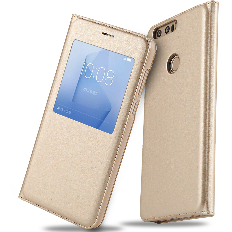 Flip Leather Cover Case for Huawei Honor 8 Leather Case Flip Cover Original Smart Window Phone Cover for Huawei Honor 8 5.2 inch