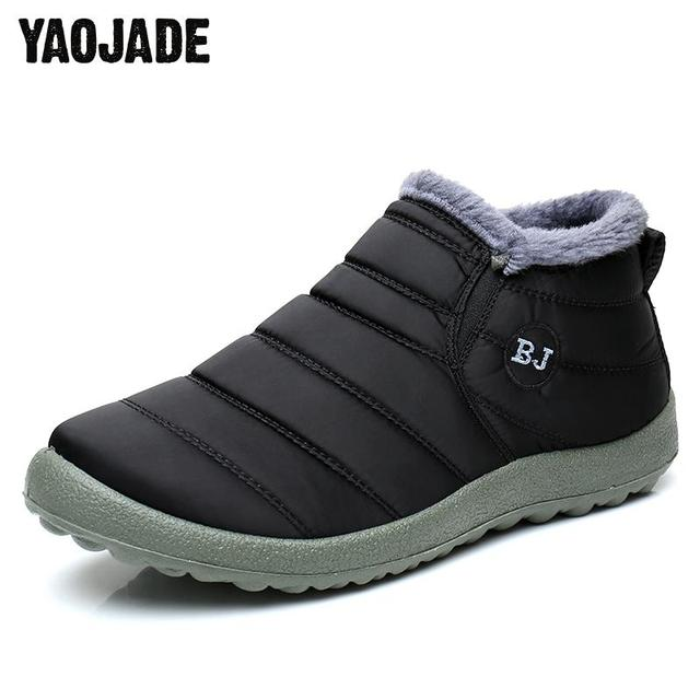 ddc255a4a2c48 US $12.54 46% OFF|2018 New Men Winter Snow Shoes 39 45 Man Boot Lightweight  Ankle Boots Warm Waterproof Mens Rain Boots 2017 New Furry Men Boots-in ...