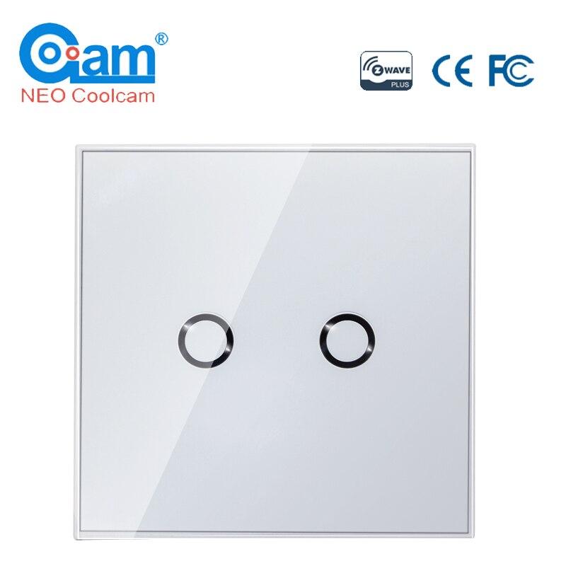 NEO COOLCAM NAS-SC02ZE Z-wave Plus Wall Light Switch 2CH Gang Home Automation Z Wave Wireless Smart Remote Control Light Switch