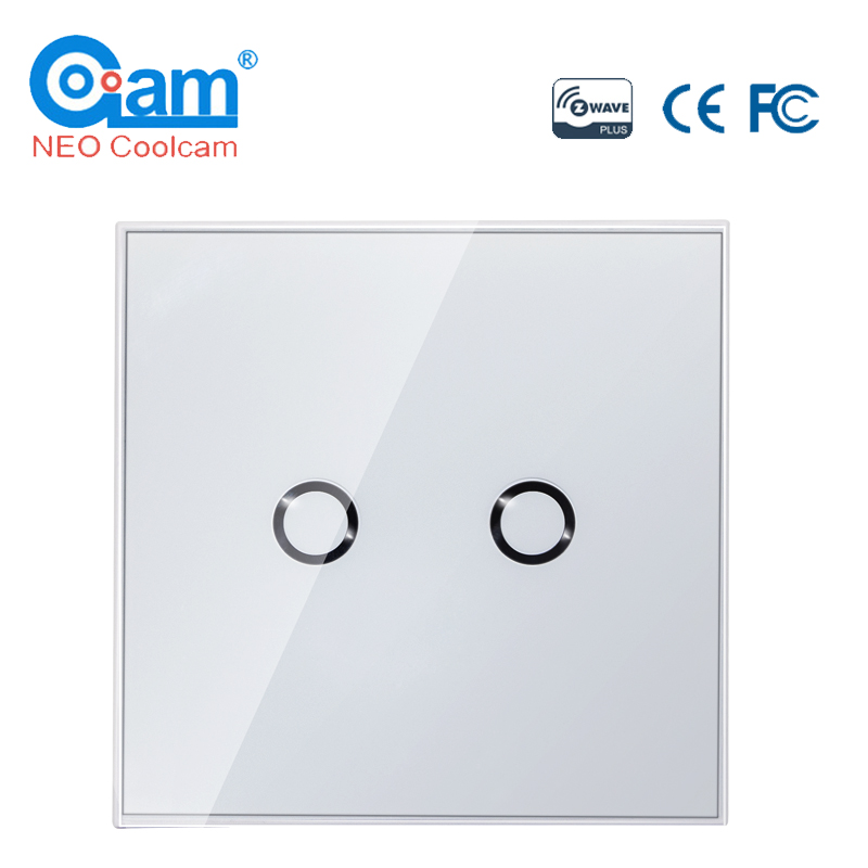 NEO COOLCAM NAS-SC02ZE Z-wave Plus Wall Light Switch 2CH Gang Home Automation Z Wave Wireless Smart Remote Control Light Switch