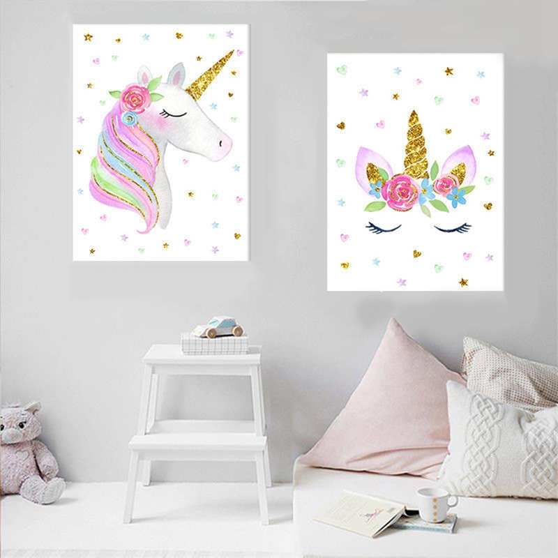 Picture Nordic Painting-Decoration Bedroom Decor Unicorn Canvas Rainbow Wall-Art Children Poster