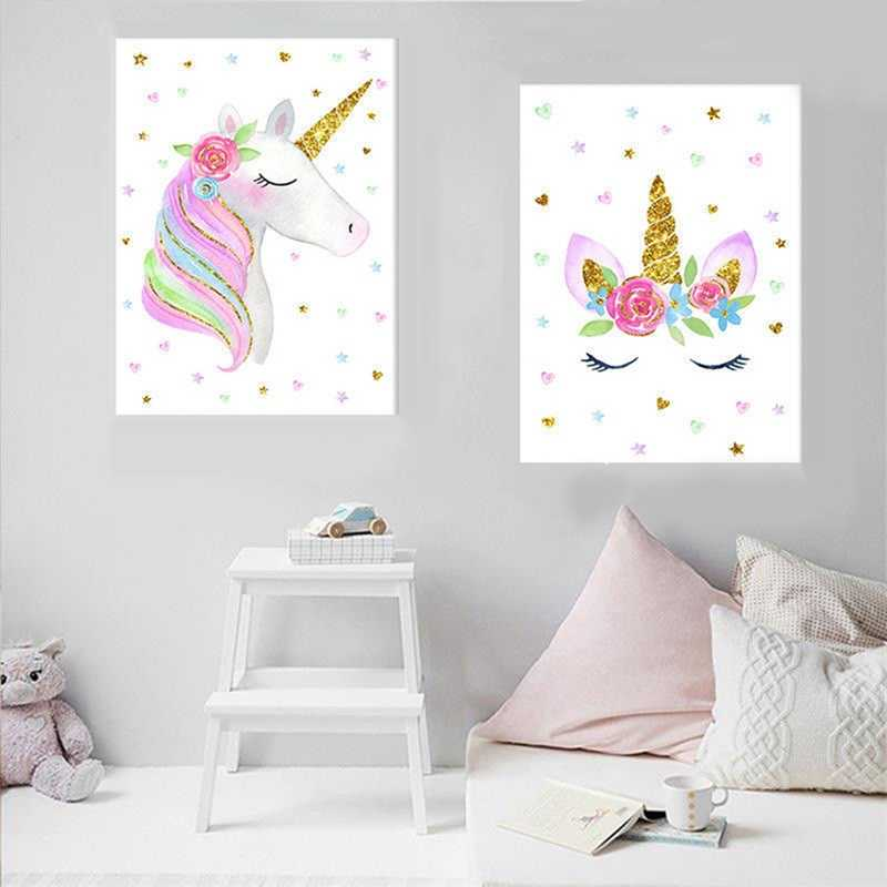 Cute Children Poster Rainbow Unicorn Canvas Wall Art Print Painting Decoration Picture Nordic Kids Bedroom Decor Gift