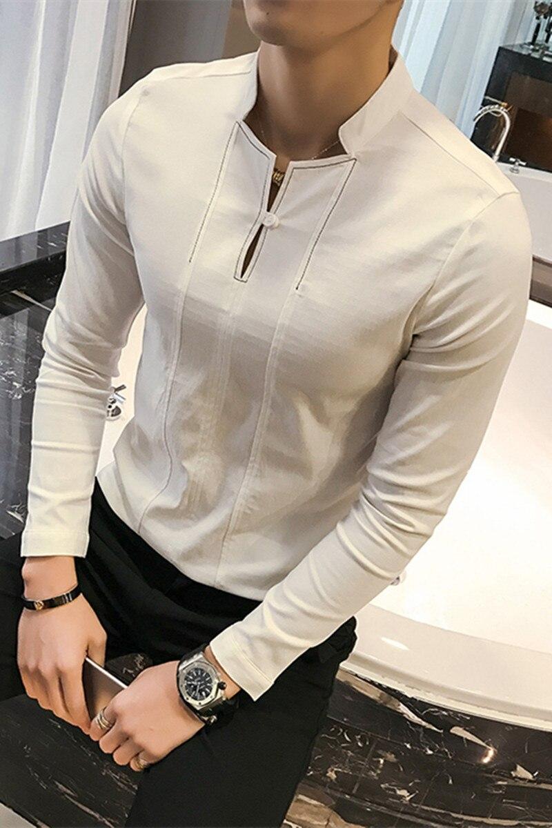 Chinesischen Stil Baumwolle Manner T Shirt New 2018 Mode Stehen