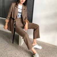 Women Plaid Blazer 2 Two Piece Set Fashion Pants Suits Jacket & Pant Blazers Femme Mujer Plus Size Lady Fashion Outfits