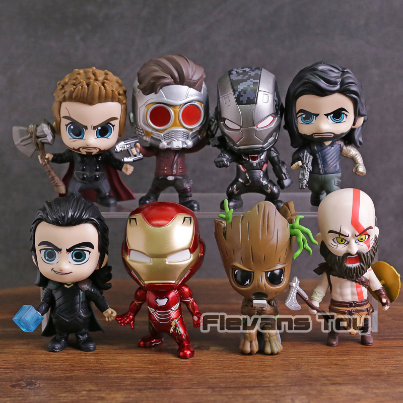 Marvel Thor Loki Tree Man Iron Man War Machine Star Lord Kratos Bucky PVC Action Figures