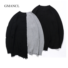 GMANCL Ripped Holes Fashion Vintage men Sweater Hip Hop oversized Two colors Stitching high quality sweater Casual Pullovers