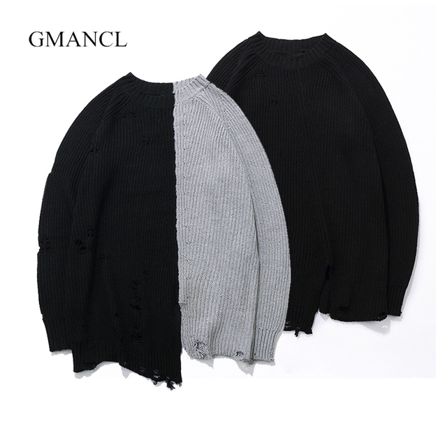 GMANCL Ripped Holes Fashion Vintage men Sweater Hip Hop oversized Two colors  Stitching high quality sweater Casual Pullovers 4ecf7200a