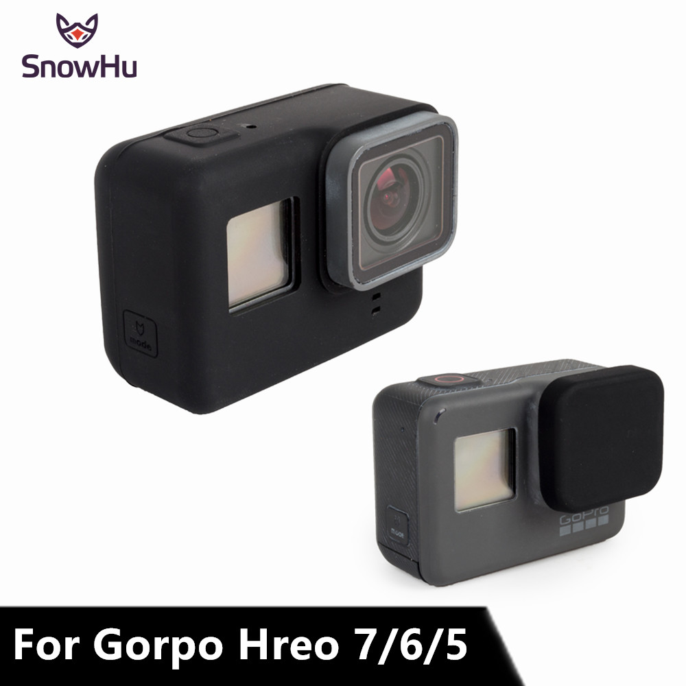 SnowHu For Go Pro Accessories Soft Silicone Case Protection Lens Cover For Gopro Hero 7 6 5 Action Camera Standard Frame GP502
