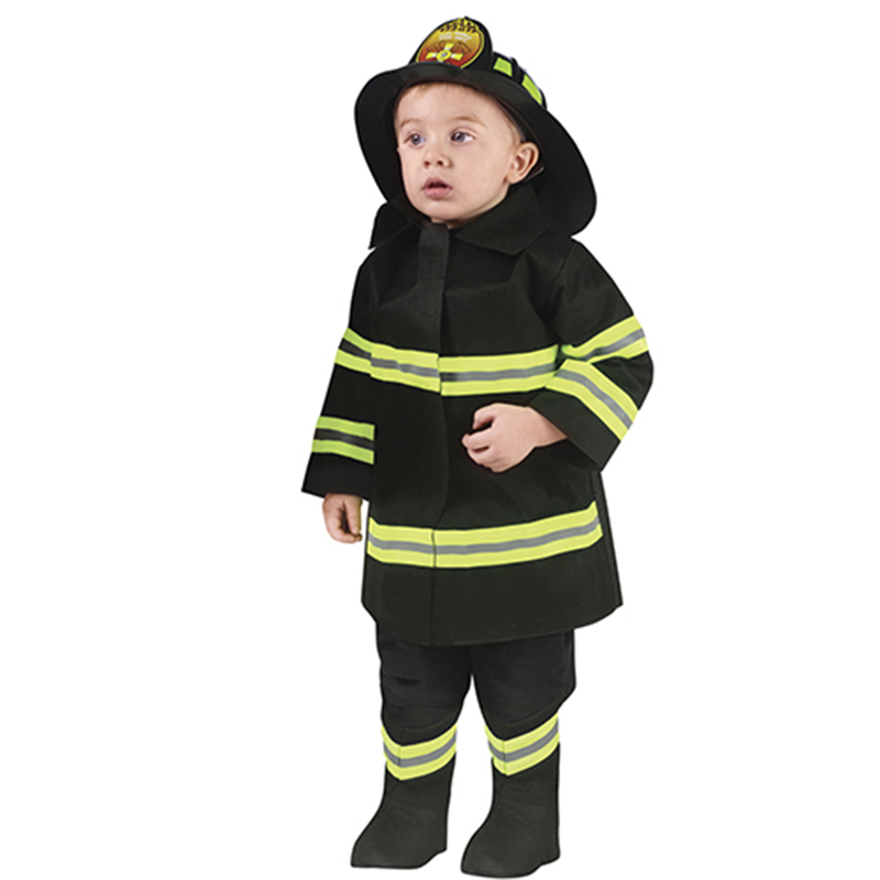 Kids Firefighter Cosplay Little Fireman Costume Green Striped Firemen Suit Boys Halloween Carnival Party Costumes