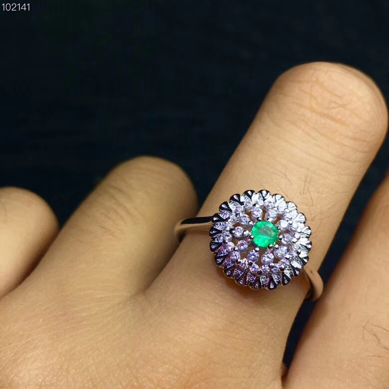 Uloveido 925 Sterling Silver Natural Emerald Ring Fashion Flower Design Green Gemstone Birthstone Rings for Women