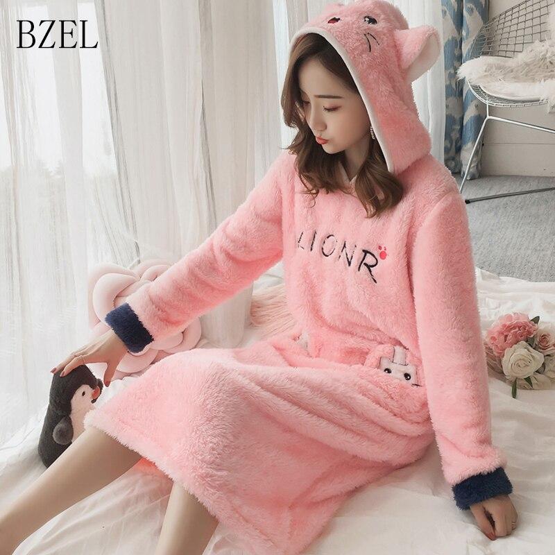 b4f6eb0b3b Detail Feedback Questions about BZEL Cartoon Sleepshirts Women Flannel  Nightdress Hooded Nightgowns Cute Female Sleepwear Homewear Lingerie  Underwear With ...