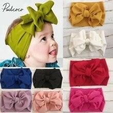 Новинка года; Брендовая детская повязка на голову для новорожденных; повязка на голову для маленьких девочек и мальчиков; однотонная мягкая лента для волос с узлом в виде тюрбана; подарок на день рождения ребенка