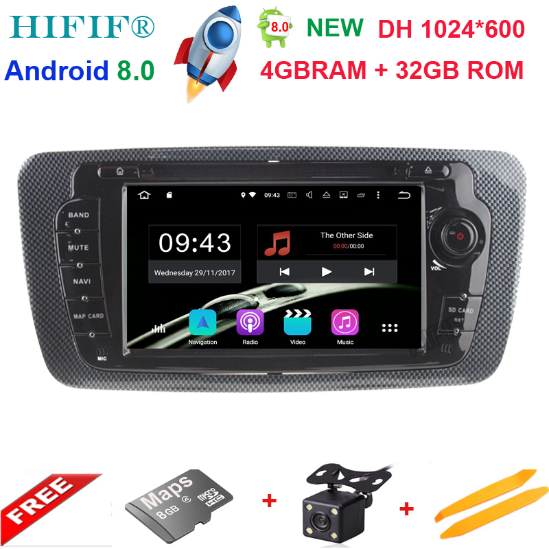 Octa Core 2 Din Android 8.0 Car DVD GPS navigation autoradio for Seat Ibiza 2009 2010 2011 2012 2013 4GB RAM 32GB ROM Free Map-in Car Multimedia Player from Automobiles & Motorcycles    1