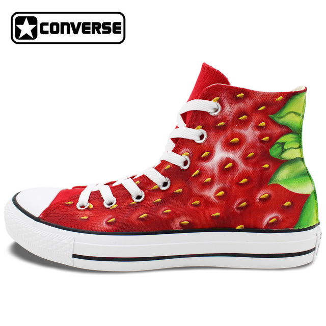 1f73dbdf7788 Hand Painted Shoes Strawberry Converse Chuck Taylor Custom Design High Top Canvas  Sneakers Unique Gifts Men
