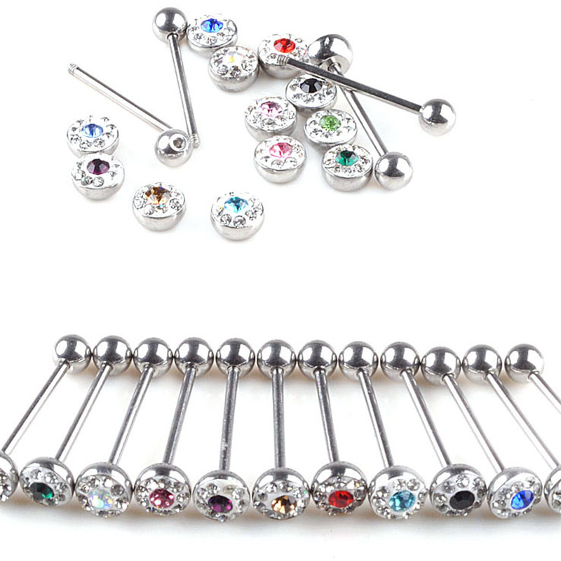 1pc Stainless Steel Crystal Ball Stud Tongue Rings Navel Belly Button Stud Body Piercing Jewelry for Women