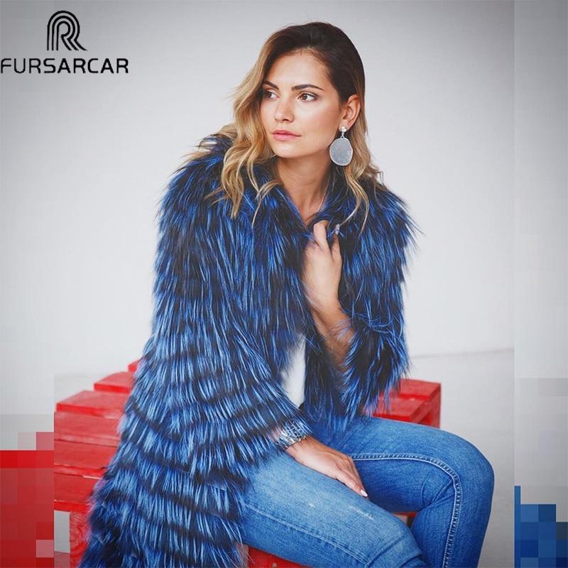 FURSARCAR 2018 Winter Women Real Fox Fur Coat Luxury Natural Silver Fox Fur Jacket With Fur Collar & Cuff Fashion Long Real Fur