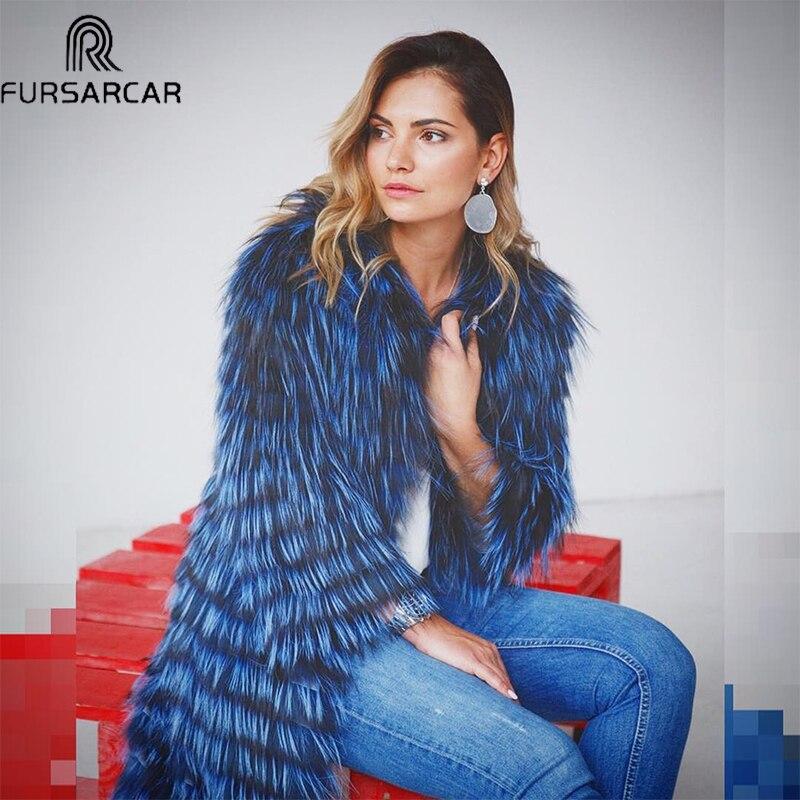 FURSARCAR 2019 Winter Women Real Fox Fur Coat Luxury Natural Silver Fox Fur Jacket With Fur Collar & Cuff Fashion Long Real Fur