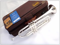 FREE Senior Bach Silver Plated Bach Trumpet LT180S 43 Small Brass Musical Instrument Trompeta Professional High Grade.