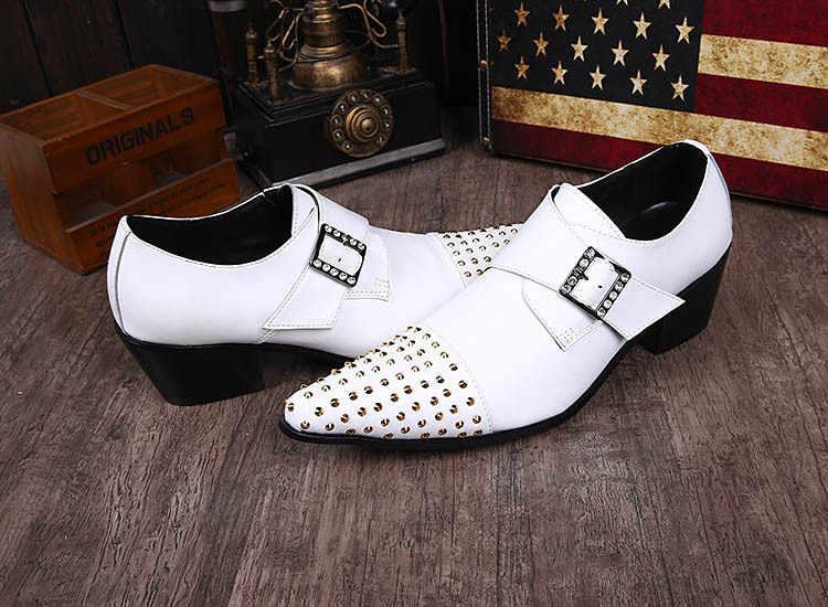 Ntparker/мужские туфли ручной работы в итальянском стиле; Формальные белые кожаные свадебные мужские туфли; белые туфли на высоком каблуке в деловом стиле; мужская обувь