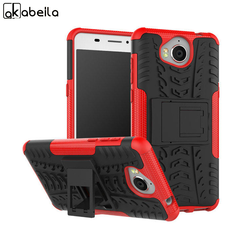 AKABEILA Phone Cases Covers For Huawei Y5 2017 Case PC+TPU 2in1 Hybrid Armor Defender Kickstand Bags Rugged Smartphone Cover