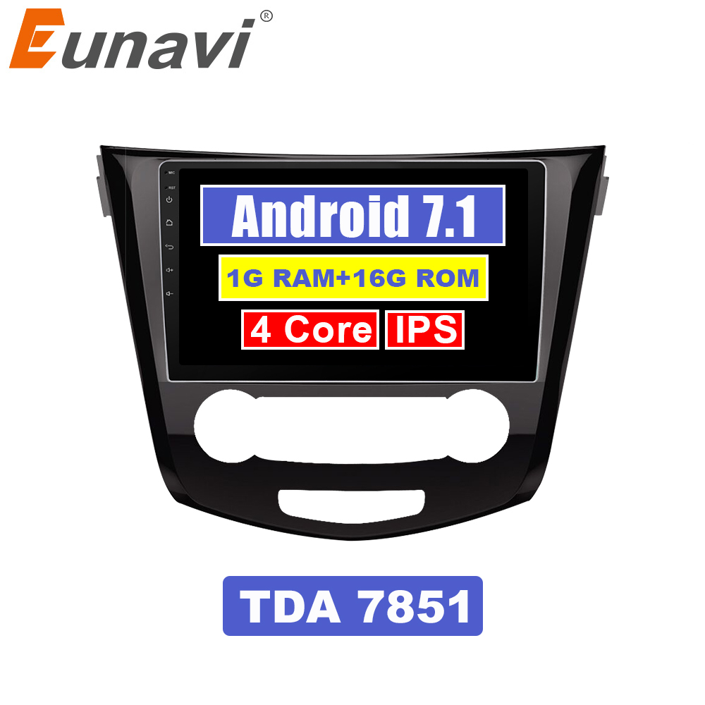 Perfect Eunavi 2 din 10.1 inch quad core Android 7.1 Multimedia Car Radio Stereo Player for Nissan Qashqai 2016 GPS Navigation Head unit 0