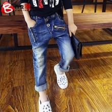 Весенняя детская одежда детские брюки, брюки для мальчиков джинсовые брюки для мальчиков в Корейском стиле детские верх брюки