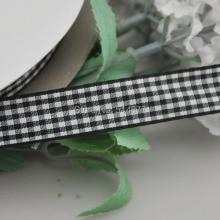Upick 5 8 15mm Black Color One Roll Tartan Plaid Ribbon Bows Appliques Sewing Crafts 50Y