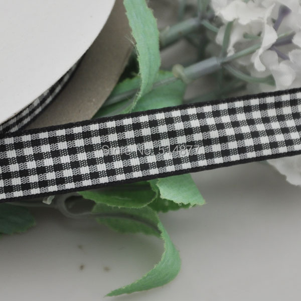 Upick 5 8 15mm Black Color One Roll font b Tartan b font Plaid Ribbon Bows