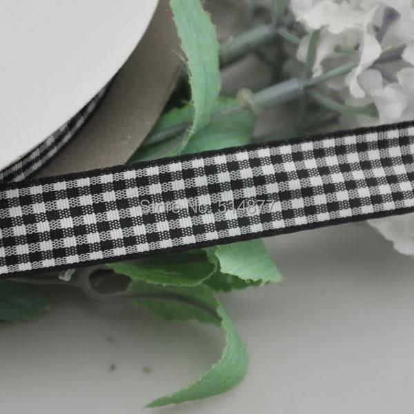 Upick 5 8 15mm Black Color One Roll font b Tartan b font Plaid Ribbon Bows
