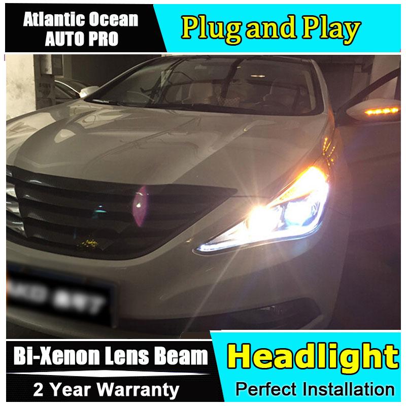 стайлинга автомобилей для Hyundai Соната 8 2011-2014 фары для Соната 8 Би-Ксеноновые двойной объектив, спрятанный к