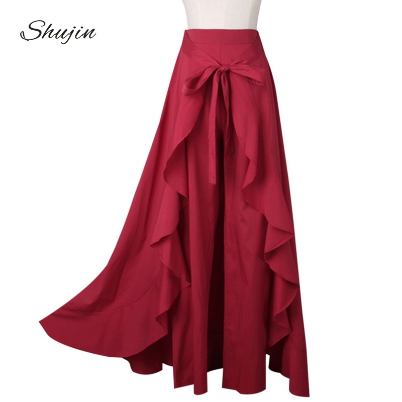 Women's Clothing High Waist Women Trousers Summer Big Swing Tiered Ruffle Skirt Pants Belted Black Wine Red Casual Work Wear Loose Ladies Pant Bottoms