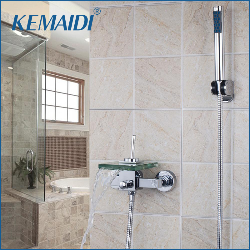 KEMAIDI All Around Rotate Swivel Lever Wall Mounted Shower Faucets Waterfall Glass Spout With Handheld Shower Tap Mixer FaucetKEMAIDI All Around Rotate Swivel Lever Wall Mounted Shower Faucets Waterfall Glass Spout With Handheld Shower Tap Mixer Faucet