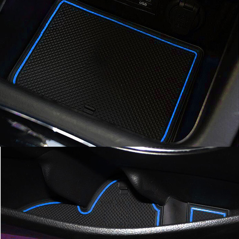 For 2012 to 2015 Kia K3 Car Non-Slip Interior cup cushion Door Mat covers Cup Mat stickers Fit Door Groove Mat 16pcsset
