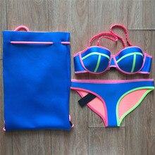 Push Up Neoprene Bikini Set Swimsuit Swimwear Bikinis Free Shipping 3800