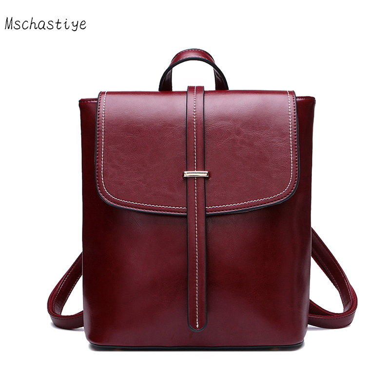 Mschastiye Backpack Women Genuine Leather Bag Women Bag Cow Leather Women Backpack Mochila Feminina School Bags for Teenagers