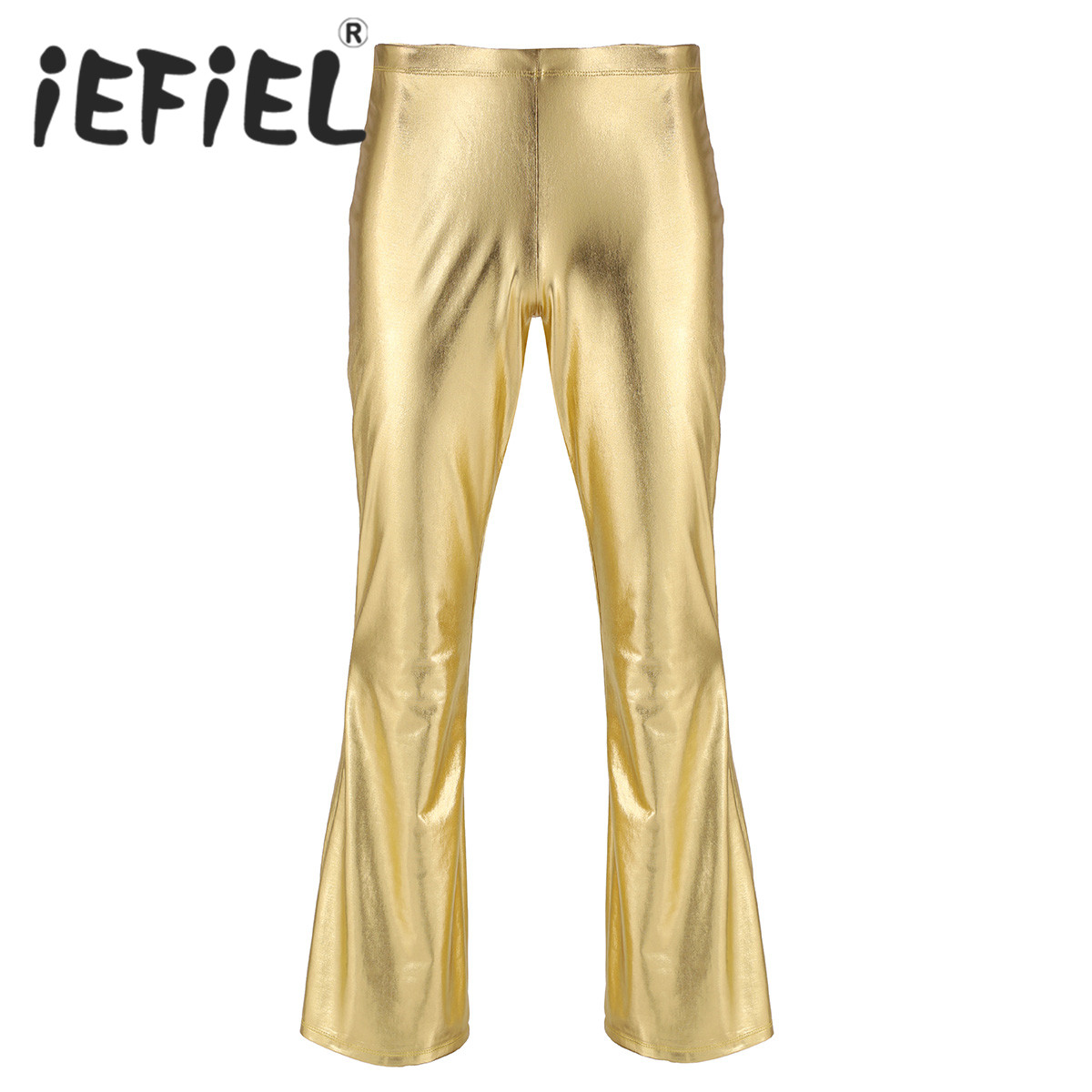Fashion Adults Male Mens Shiny Metallic Disco Pants with Bell Bottom Flared Long Pants Dude Costume Nightwear Cosplay Trousers