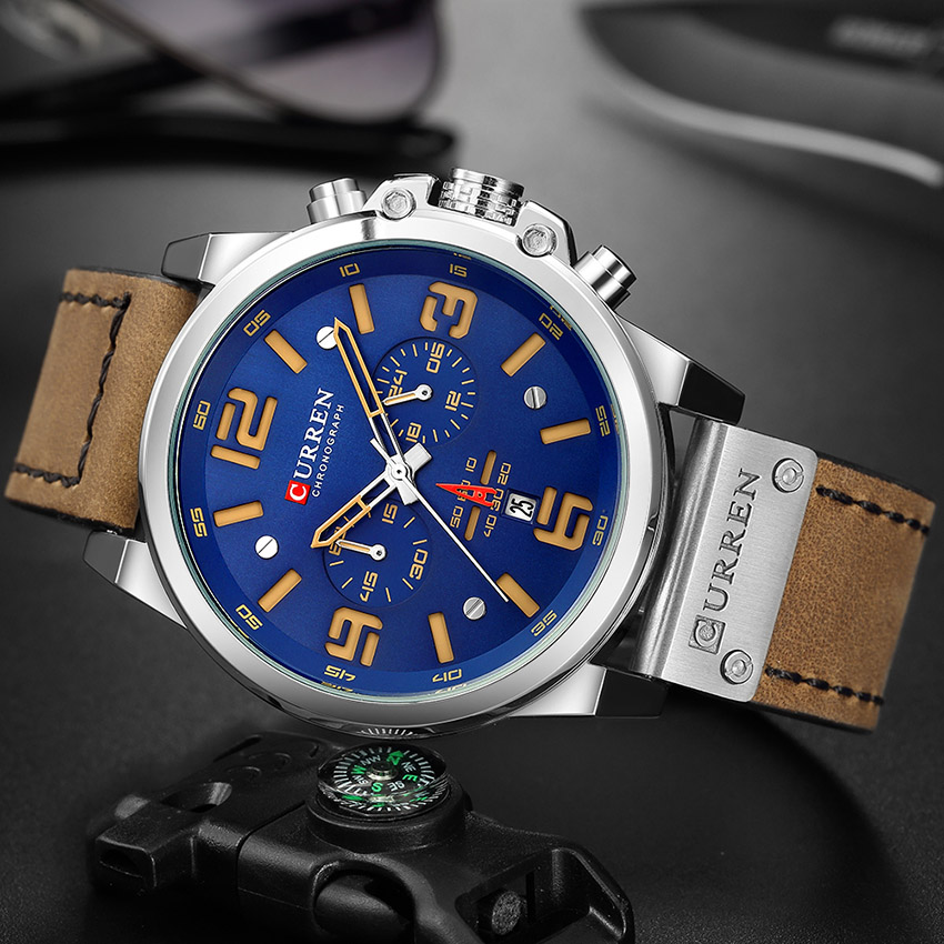 Image 3 - CURREN Top Luxury Brand Men's Military Waterproof Leather Sport Quartz Watches Chronograph Date Fashion Casual Men's Clock 8314-in Quartz Watches from Watches