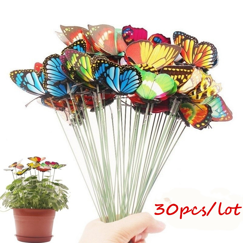 Set Of 18 Pcs Artificial Butterfly Garden Yard Planter Colorful