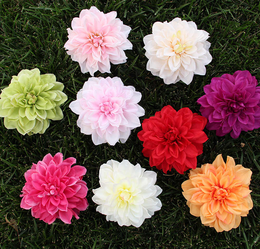 (red Purple Orange Champagn White Pink) 15cm Large Silk Flower Heads Artificial Dahlia Heads To Make Door Wreath or Flower Wall