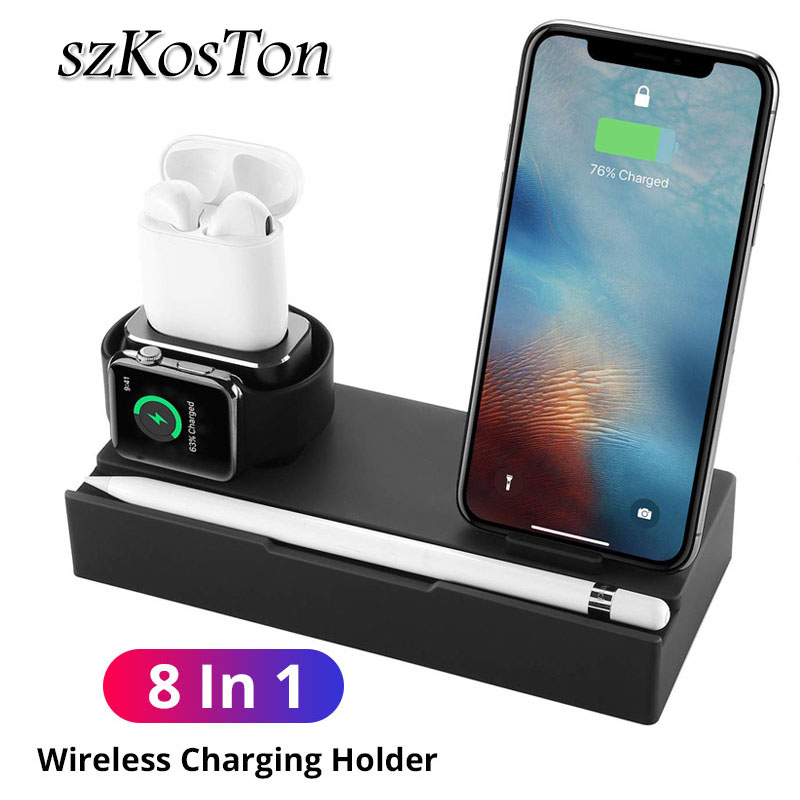 8 in 1 QI Wireless Fast Charger Pad For iPhone X Xs XR 8 Plus Samsung USB Charging Dock Holder Stand For Apple Watch AirPods Pen