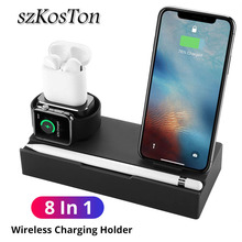 8 in 1 QI Wireless Fast Charger Pad For iPhone X Xs XR 8 7 6 6s Plus Samsung USB Charging Dock Holder Stand For Apple Watch Pen