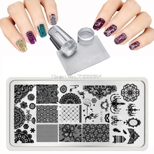 2018 New 12X6cm 20 Style Lace Patterns Grid variety of styles Nail Stamping Plates Steel Stamp+ Nail Art Templates Sets+ Scraper