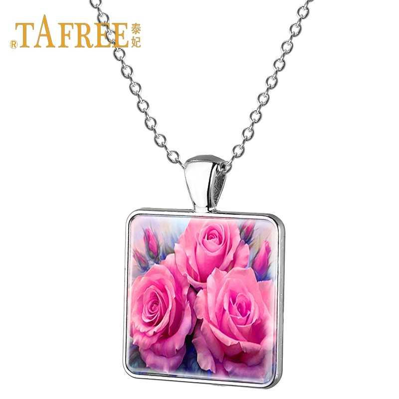 TAFREE קסם פרח שרשרת חמניות עלה שמש פרח Phalaenopsis תבנית כיכר תליון שרשרת למאהב מתנת תכשיטי E214