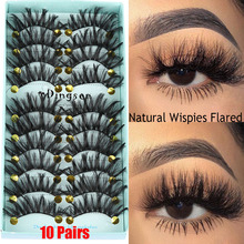 10 Pairs 3D Soft Faux Mink Hair False Eyelashes Thick Long Wispies Fluffy Natural Eyelash Makeup Extension Handmade Fake Lashes